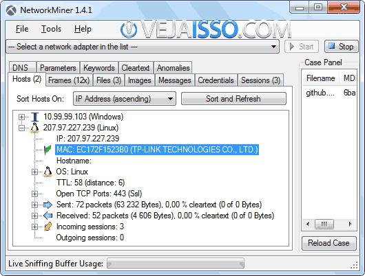 Sniffing de pacotes e informações hackers