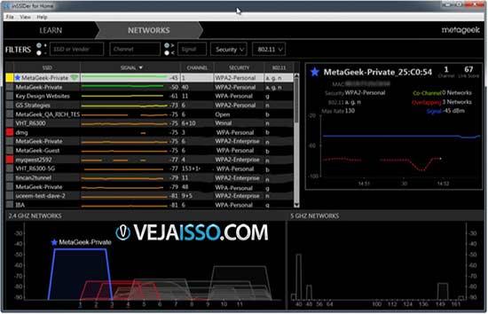 inSSIDer, um programa wifi para detectar rede wifi, estudar potência do sinal, canais, qualidade e tipo de segurança em tempo real
