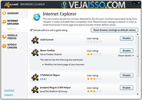 Avast Browser Cleanup Tool busca por barra, toolbars e addons no internet explorer, firefox e chrome automaticamente e gratuitamente