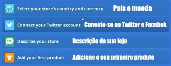 De onde é sua loja, qual a moeda usada, descrição do ecommerce e adicionar o primeiro produto sao os principais passos agora