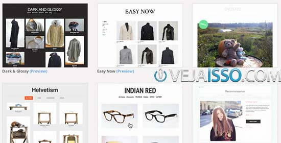 Depois do cadastro você será levado a tela de escolha de design e tema da loja - que pode ser customizada posteriormente