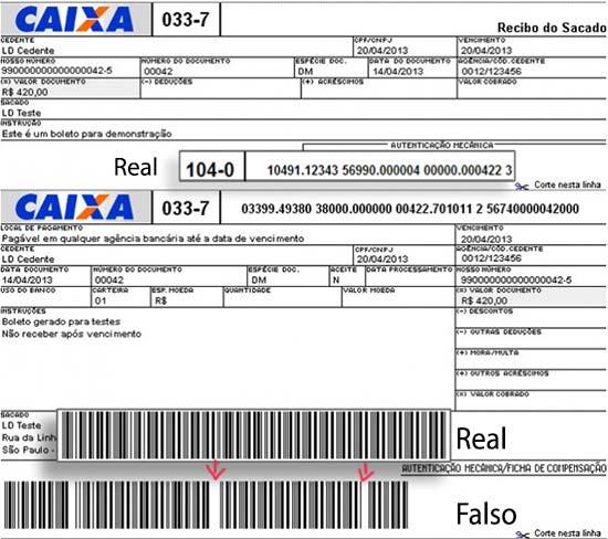 Exemplo de boleto bancário mostrando em destaque o número e o código de barras correto e embaixo o modificado pelo vírus de boleto bancário