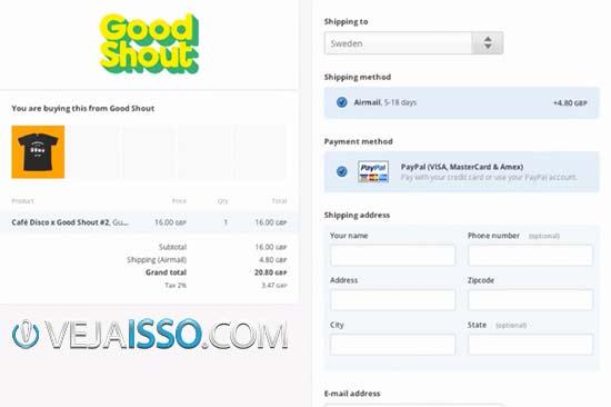 Exemplo de página de compra que o consumidor vera com seus dados para serem preenchidos de forma segura pelo PayPal, confiado por grande parte dos brasileiros
