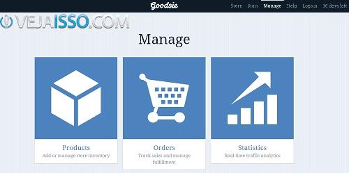 Goodsie é uma outra excelente opção para quem quer criar sua propria loja virtual online mesmo sem saber usar bem o computador