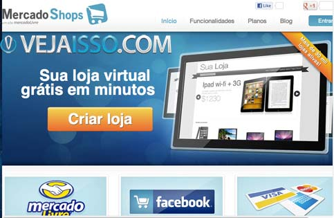 MercadoShops é a única opção brasileira que permite montar loja virtual online de graça, apesar de inúmeras limitações e propagandas do MercadoLivre