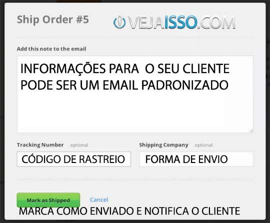 Notificação de ordem recebida e aviso para o cliente que o pedido já foi postado com o código de rastreio de tiver