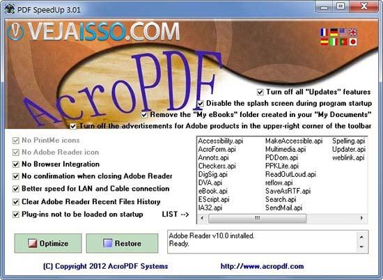 PDF SpeedUp consegue melhorar o Adobe Reader e acelerar o carregamento dos arquivos
