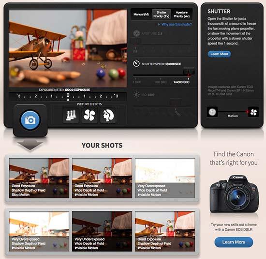 Simulador de câmera fotográfica profissional da Canon permite testar Abertura, Shutter e ISO de uma Canon diretamente do navegador para entender todos os conceitos sobre como tirar fotos