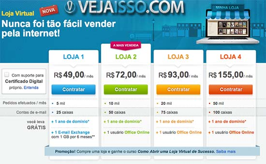 Uol Host a Loja virtual com o nome de renome na qual voce paga por transação, tendo suporte a chat, email e telefone