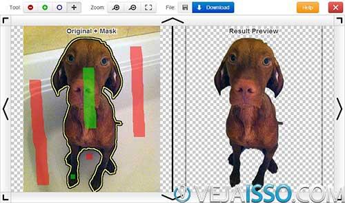 Exemplo de foto marcada com o fundo removido a direita - eu recomendo marcar o contorno inteiro do objeto, cachorro ou pessoa, diferente do mostrado acima para melhores resultados