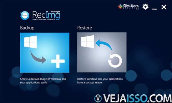 RecImg um dos melhores programas gratis para Windows 8 faz backup automatico do sistema e dos seus arquivos