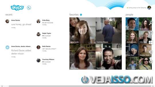 Skype para Windows 8 e completamente integrado ao sistema, tornando-o um dos melhores programas para fazer chamadas por voz e video
