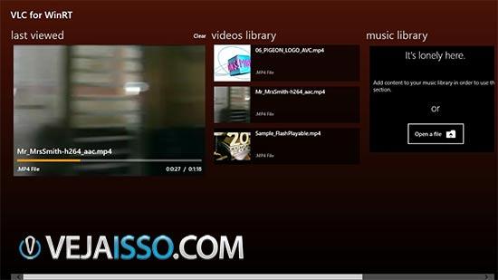 VLC é o melhor tocador de vídeo para o Windows 8, pois inclui tocador de DVD e os codecs para todos formatos grátis