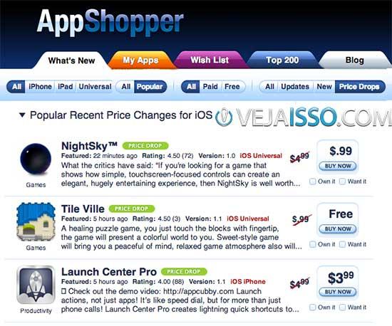 Versão Web do AppShopper permite configurar as notificações e encontrar e baixar app grátis de iPhone e iPad