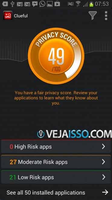Clueful investiga todos os app e vê qual permissão que eles tem para executar, o que permite que você tome melhores decisões a respeito de remover ou manter os apps