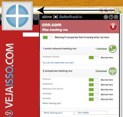 DoNotTrackMe oferece opções configuráveis e mais aberto que Disconnect, porém também serve para bloquear os sites e sua privacidade mantendo a funcionalidade dos sites que você gosta