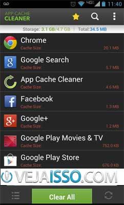 App Cache Cleaner limpa todos os arquivo temporarios de todas as suas aplicações android com um só clique e grátis