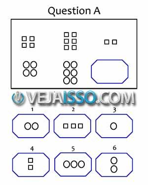 Exemplo de teste de inteligência para medir o QI - Parece não fazer sentido pois a intenção é determinar a sua capacidade de resolver novos problemas