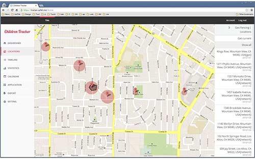 Children Tracker exibindo o histórico de lugares e destinos na interface web