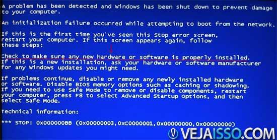 Erro azul da morte do Windows Vista mostrando uma falha fatal impedindo o computador de ligar devido a falha de hardware ou software instalado