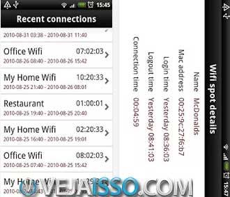Histórico de conexões wifi com facilidade, permitindo estimar o tempo de conexão com uma determinada rede