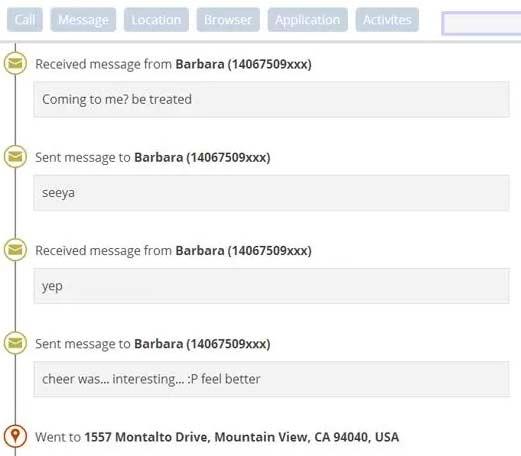 Linha do tempo do Children Tracker permite voce ver qual mensagem, qual ligacao e onde foi realizada - ate o Obama teria inveja desse espiao particular