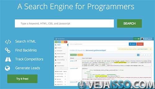 NerdyData faz analise de codigo fonte nas paginas de internet, buscando HTML, CSS e Javascript a fim de procurar exemplos usados em sites famosos