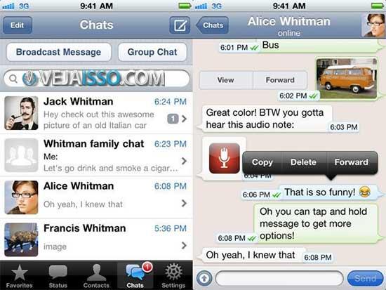 Whatsapp conquistou o Brasil devido o app ser grátis no Android e pago no iPhone, além de ter compartilhamento de vídeos, fotos e chat em grupo. Porém sem sincronia com PC e tablet