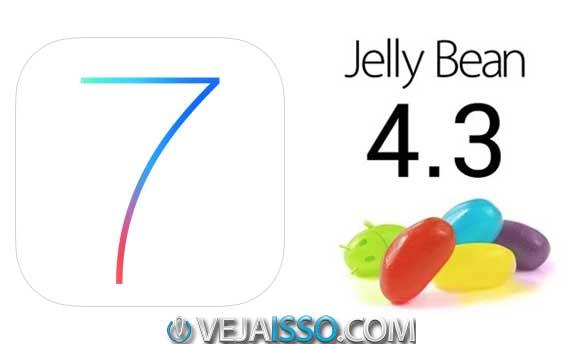 iOS 7, a última versão do sistema para celulares da Apple e Android 4.3 a ultima versão do sistema do Google para alguns smartphones