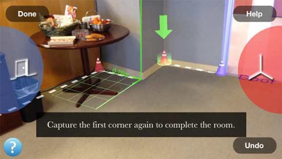 Magic Plan marcando os cantos e portas com botoes simples e movimentação do giroscopio do iPhone, usando a tela para se orientar e de dizer qual a forma mais precisa de medir