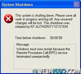 Vírus de RPC do Windows fazia o computador desligar sozinho, oferecendo uma mensagem de erro oficial do Windows para te notificar de quando ele seria desligado