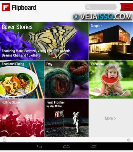 Flipboard a revista interativa de melhor design para Android, um dos melhores aplicativos Android para celular e tablet