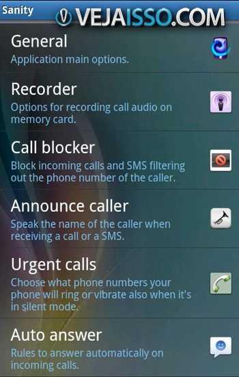 Sanity da controle as suas ligacoes permitindo, bloquear, gravar, responder automaticamente no  seu celular e tablet