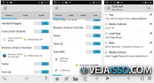Tasker permite automatizar horarios, apps, ligacoes, quase todo o funcionamento do seu Android pode ser modificado e customizado com o Tasker